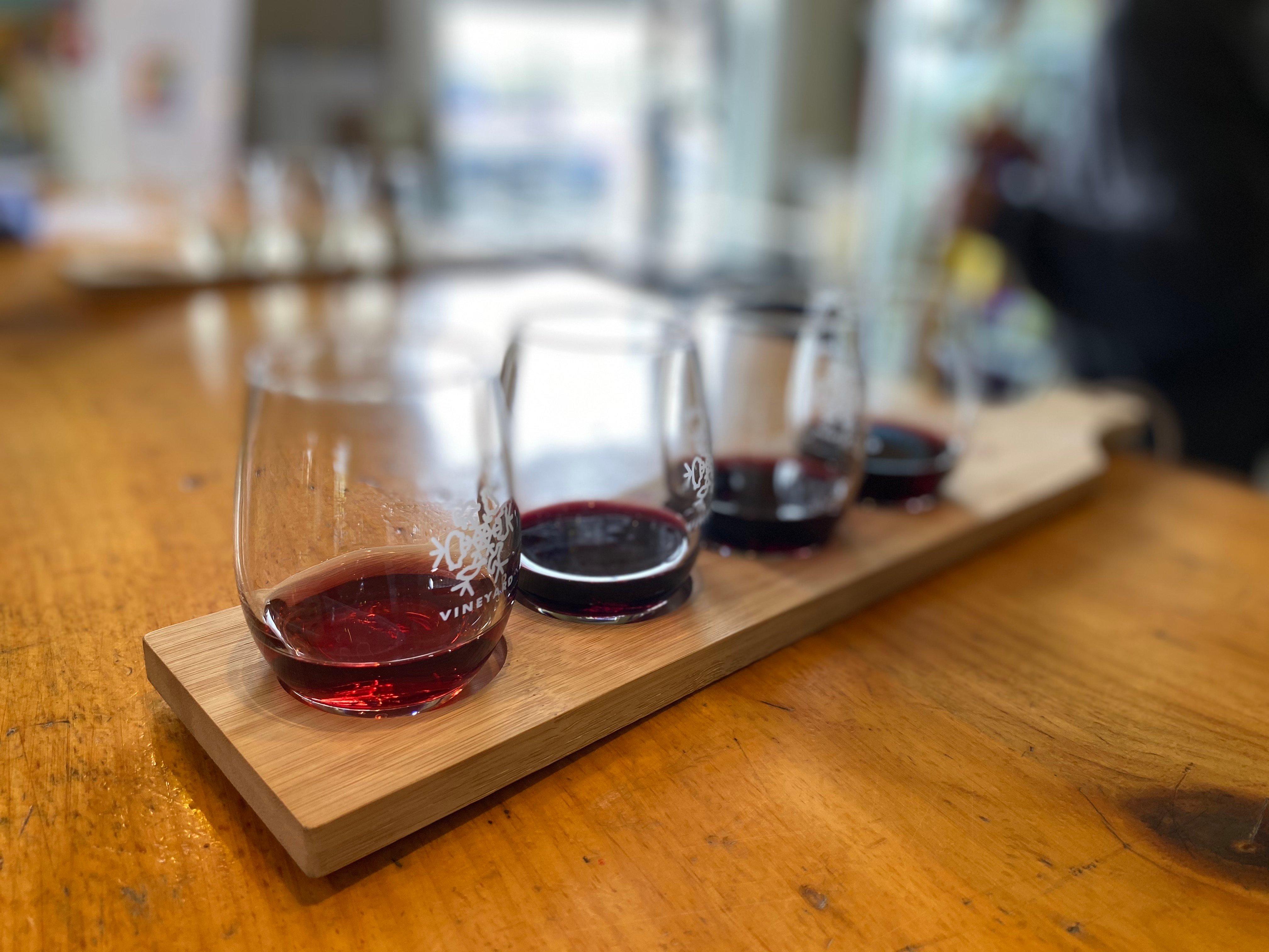 wine tasting inside wood bar