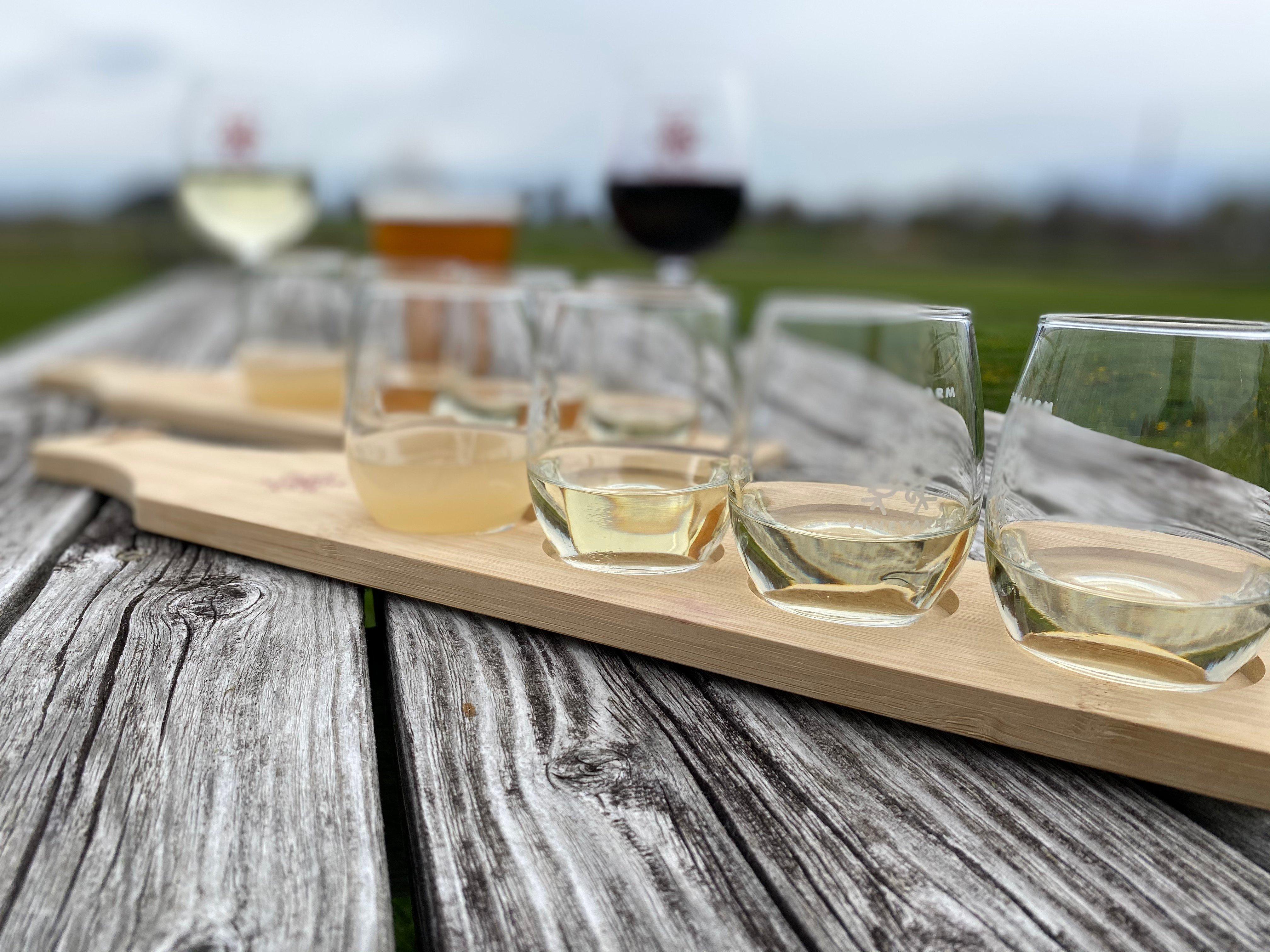 wine tasting outside picnic table
